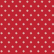 W108305 Extra Wide Cotton Fabric - Small White Pinwheels on Bright Red Background